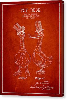 Toy Duck Patent From 1915 - Male - Red Canvas Print