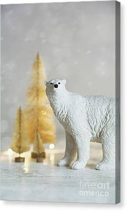 Canvas Print featuring the photograph Toy Polar Bear With Little Gold Trees And Lights by Sandra Cunningham