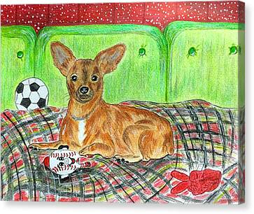 Toy Rat Terrier Canvas Print by Kathy Marrs Chandler