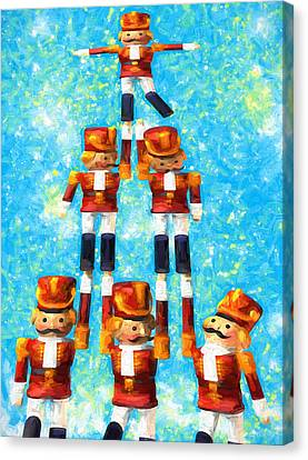 Toy Soldiers Make A Tree Canvas Print