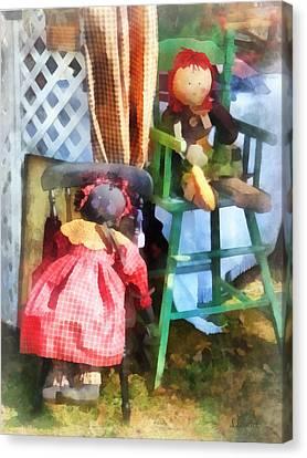 Toys - Two Rag Dolls At Flea Market Canvas Print by Susan Savad