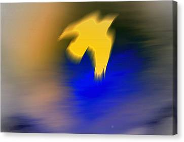 A Yellow Trace Of A Bird Flying Away  Canvas Print