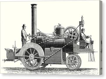 Old Car Canvas Print - Traction Engine Or Steam Car Invented By M by M. Lotz, 19th Century, French