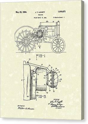 Tractor 1934 Patent Art Canvas Print