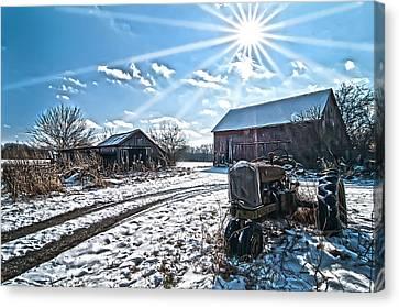 Tractor Farm Winter Blues Canvas Print by Randall Branham