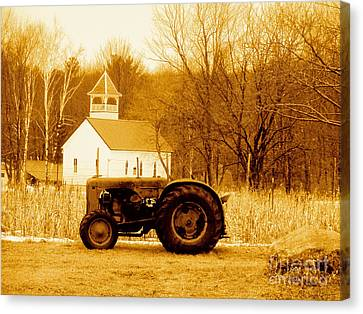 Tractor In The Field Canvas Print by Desiree Paquette