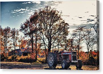 Tractor Out Of The Barn Canvas Print by Kelly Reber
