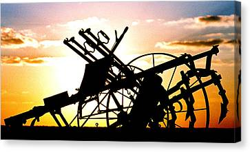 Canvas Print featuring the photograph Tractor Silhouette by Kimberleigh Ladd
