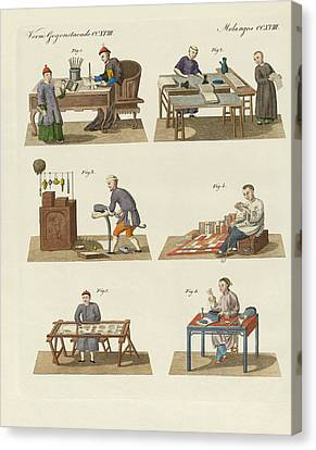 Trades Arts And Handworks In China Canvas Print by Splendid Art Prints