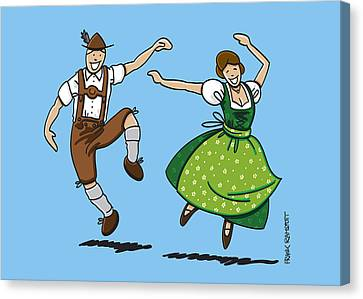 Traditional Bavarian Couple Dancing Canvas Print by Frank Ramspott