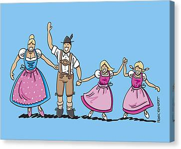 Traditional Bavarian Family With Two Daughters Canvas Print by Frank Ramspott