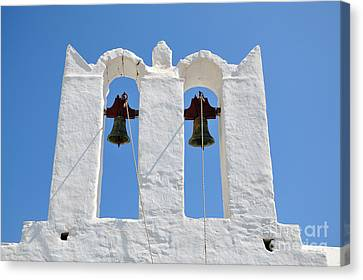 Bell Canvas Print - Traditional Belfry In Sifnos Island by George Atsametakis
