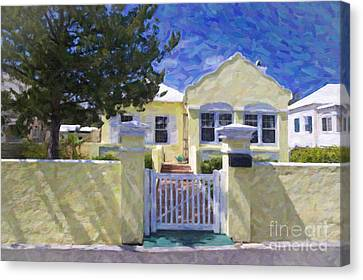 Canvas Print featuring the photograph Traditional Bermuda Home by Verena Matthew