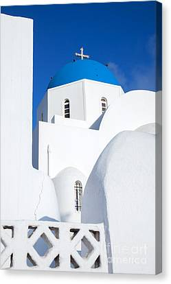 Traditional Church In Santorini - Greece Canvas Print by Matteo Colombo
