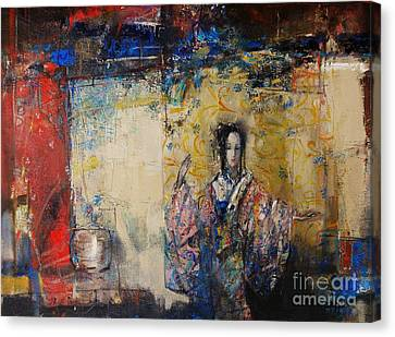 Canvas Print - Traditional Dance In Front Of A Yellow Curtain by Grigor Malinov