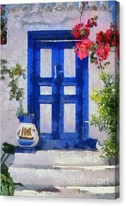 Traditional Door In Hydra Island Canvas Print by George Atsametakis