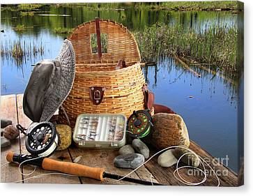Traditional Fly-fishing Rod With Equipment  Canvas Print by Sandra Cunningham