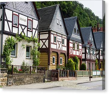 Traditional Half-timbered Buildings Canvas Print by Martin Zwick
