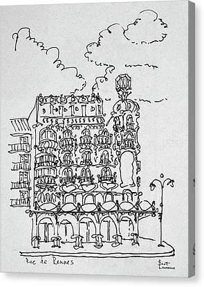 Traditional Haussmann Building On Rue Canvas Print