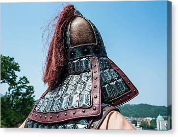 Traditional Helmet Of A Guard Canvas Print by Michael Runkel