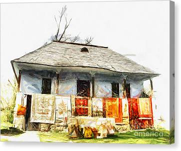 Traditional House In Romania Canvas Print by Daliana Pacuraru
