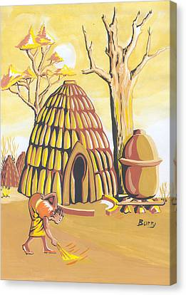 Canvas Print featuring the painting Traditional House Massa Northern Cameroon by Emmanuel Baliyanga