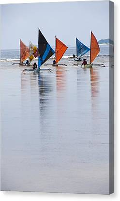 Traditional Indonesian Sailing Boats Canvas Print by Science Photo Library