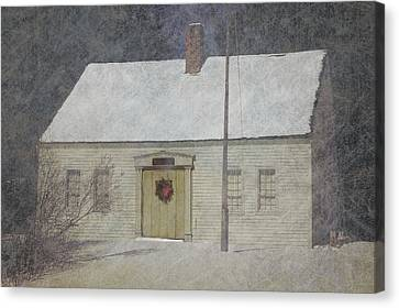Traditional Snow Colonial Salt Box Home Christmas Card Canvas Print
