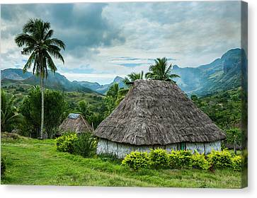 Michael Canvas Print - Traditional Thatched Roofed Huts by Michael Runkel