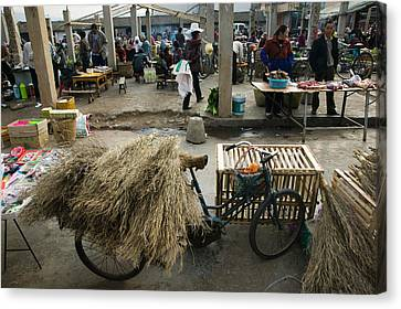 Traditional Town Market With Grass Canvas Print by Panoramic Images