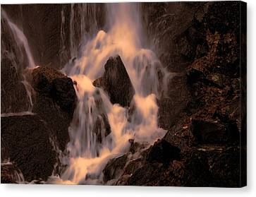 Traditional Waterfall At Sunset Canvas Print by Lawrence Christopher