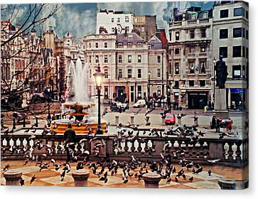Trafalgar Square London Canvas Print by Diana Angstadt