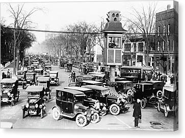Traffic Control Canvas Print - Traffic Control In Detroit by Library Of Congress