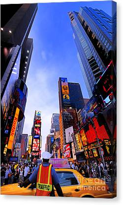 Traffic Cop In Times Square New York City Canvas Print by Amy Cicconi