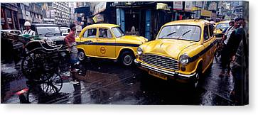 Traffic In A Street, Calcutta, West Canvas Print by Panoramic Images