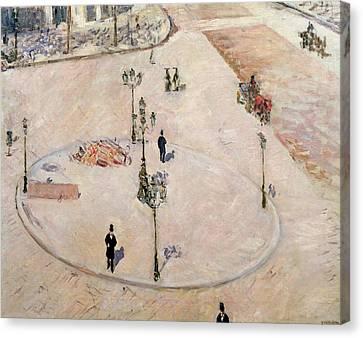 Traffic Island On Boulevard Haussmann Canvas Print