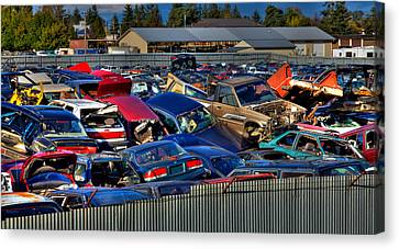 Traffic Jam - Ferrell's Auto Wrecking Canvas Print by David Patterson