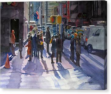 Crowd Scene Canvas Print - Traffic Light by Kris Parins