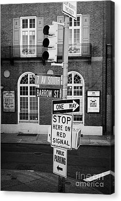 traffic lights and collection of street signs 7th Ave South Barrow Street greenwich village new york Canvas Print