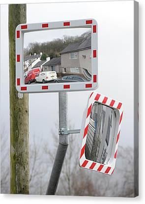 Traffic Mirrors Canvas Print by Cordelia Molloy