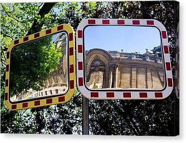 Traffic Mirrors In Luxembourg Canvas Print by Mark Williamson