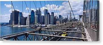 Traffic On A Bridge, Brooklyn Bridge Canvas Print by Panoramic Images