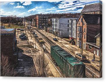 Canvas Print featuring the painting Traffic On Lincoln Street by Bob Orsillo