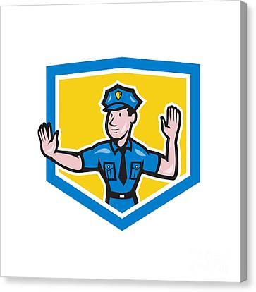 Traffic Policeman Stop Hand Signal Shield Cartoon Canvas Print by Aloysius Patrimonio
