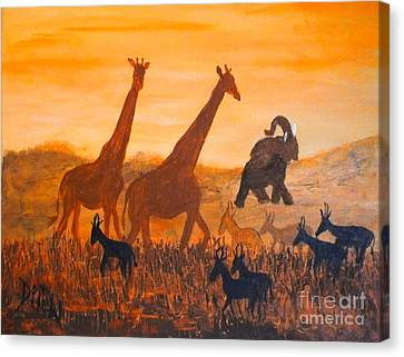 Canvas Print featuring the painting Traffick On Serengeti by Donna Dixon
