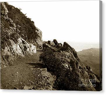 Canvas Print featuring the photograph Trail On Mt. Tamalpais Marin Co California Circa 1902  by California Views Mr Pat Hathaway Archives