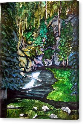 Canvas Print featuring the painting Trail To Broke-off by Lil Taylor