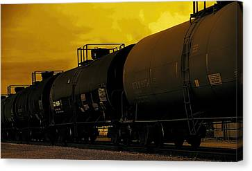Train At Sunset Canvas Print by Dan Sproul