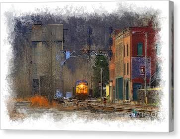 Train At Thurmond Wv Canvas Print by Dan Friend