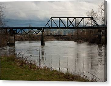 Canvas Print featuring the photograph Train Bridge by Erin Kohlenberg